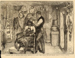 Barber's Shop at Standing Rock, Dakota Territory, an Indian chief having his hair dressed