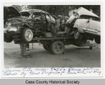 Wreck from auto accident at Tower City, N.D. on display at Fargo, N.D.