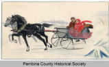 Winter scene sketch of a sleigh and horses