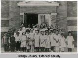 Children in front of De Mores School, Medora, N.D.