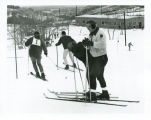 Bismarck Junior College students skiing, Huff, N.D.