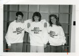 Bismarck State College students wearing name change sweatshirts, Bismarck, N.D.