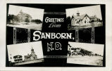 Greetings from Sanborn N.D. postcard
