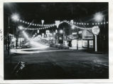 Central Ave decorated for Christmas at night, Valley City, N.D.