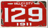 Valley City license plate, Valley City, N.D.