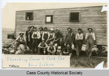 Threshing crew and cook car, near Lisbon, N.D.