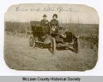 Louie and Tollie Pfeister with automobile, McLean County, N.D.