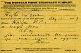 Western Union Telegram to the Marquis de Mores