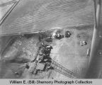 Clarence Iverson #1 oil well aerial photograph, south of Tioga, N.D.