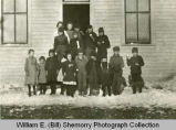 Children outside school, North Dakota