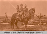 Children on horseback, Smith farm, North Dakota