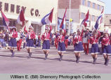 Band Day parade 1984, Drum and Bugle Corps. Color Guard, Williston, N.D.