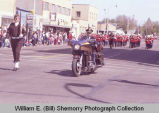 Band Day parade 1984, Ray Atol on motorcycle, Williston, N.D.