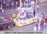 Band Day parade 1982, McDonalds float, Williston, N.D.