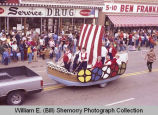 Band Day parade 1983, Norwegian float, Williston, N.D.