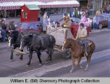 Williston Christmas parade 1983, horse-drawn wagon, N.D.