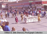 Band Day parade 1989, Fort Union marchers, Williston, N.D.
