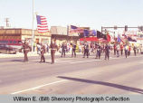 Band Day parade 1989, Williston Veterans of Foreign Wars marching, Williston, N.D.