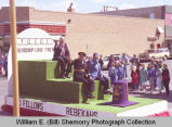 Band Day parade 1989, Odd Fellows and Rebekahs float, Williston, N.D.