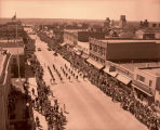 Band Day parade 1951, from top of Plainsman Hotel, N.D.