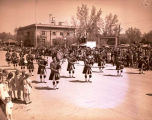 Band Day parade 1946, Regina Kiltie band, Williston, N.D.