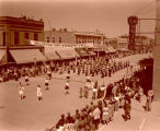 Band Day parade 1946, Plentywood High School band, Williston, N.D.