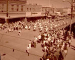 Band Day parade 1959, American Legion Drum and Bugle Corps., Williston, N.D.