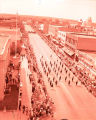 Band Day parade 1957, from top of Plainsman Hotel, N.D.