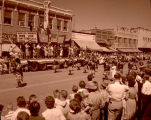 Band Day parade 1959, Regina Bagpipe band, Williston, N.D.