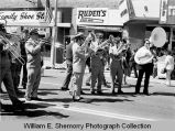 Band Day parade 1973, band performing, Williston, N.D.