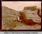 Small group exploring Badlands, Northwest Williston, N.D.