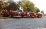 Williston Fire Department firemen with four fire engines, Williston, N.D.