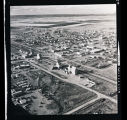 Aerial views of town, with Nelson grain elevator, N.D.