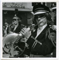 Band Day Parade 1966, woman playing french horn, Williston, N.D.