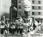 Band Day Parade 1966, drum major marching in parade, Williston, N.D.