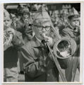 Band Day Parade 1966, boy playing trombone, Williston, N.D.