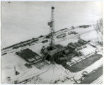Aerial view of an oil well northeast of Sidney, Mont.