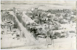 Aerial view during winter of Wildrose, N.D.
