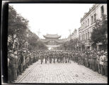 Chinese troops marching down the street in Kunming, China