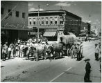 J.B. Lyon covered wagon in parade, Williston, N.D.