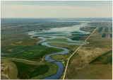 Aerial view of the Little Muddy River flooding, Williams County, N.D.