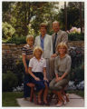 Governor Allen and Barbara Olson and family in the backyard of the Governor's Residence, Bismarck,...