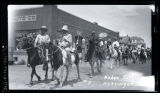 Men on horseback at Rodeo, Hettinger, N.D.