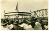 Man speaking at Verendrye Bridge dedication, Sanish, N.D.