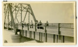 People on the Verendrye Bridge over the Missouri River, Sanish, N.D.