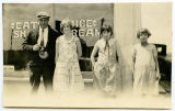 Charlie, Rubie, Ethel and Martha outside ice cream parlor, Sanish, N.D.