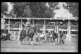 Gene Autry and his horse Champion and Champion Junior doing tricks, Rodeo Days, Mandan, N.D.