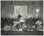 General Alfred M. Gruenther giving presentation about the North Dakota Crusade for Freedom to the...