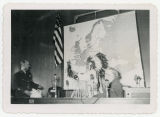 Frank Zahn presenting pipe to General Alfred M. Gruenther in the North Dakota House Chamber,...
