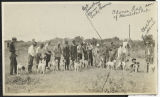 Hunting dogs and handlers, possibly in Denbigh, N.D.